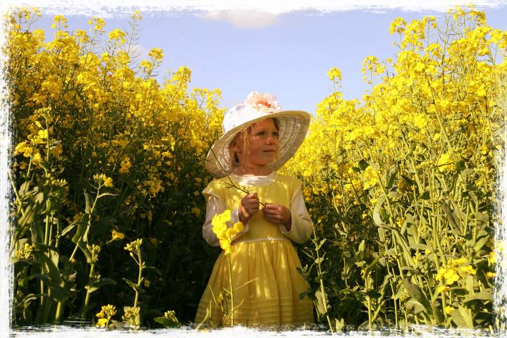 Lara in a sea of yellow