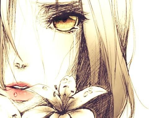 Anime Girl Tumblr Blonde Sad Flower Eye Golden Gold Yellow Blond