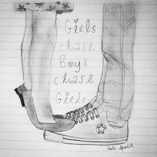 Girls chase boys chase girls ❤ 👫🎶 drawing art pencil