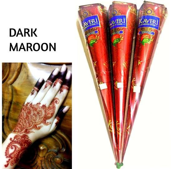 Fresh Pack Of 3 X Dark Brown Dark Maroon Henna Mehndi